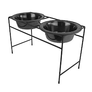 Platinum Pets Modern Double Diner Stand with Two 8 Cup Rimmed Bowls, Black Chrome by Platinum Pets