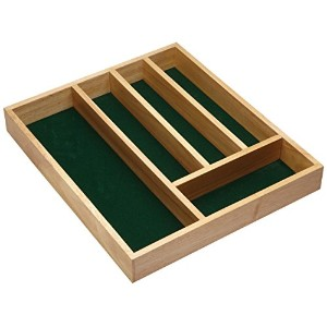 Kitchen Craft Traditional Wooden Cutlery Tray with Five Sections Sleeved