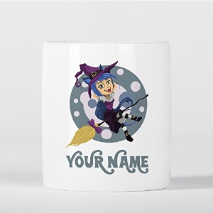 Customized Purple Witch with Broom Children Kids Personalised 貯金箱