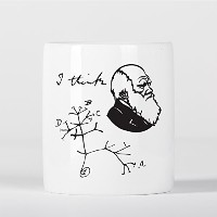I Think Charles Darwin Tree of Life Origin of Species Evolution Drawing Atheist 貯金箱