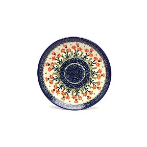 Polish Pottery Plate - Salad/Dessert (7 3/4) - Peach Spring Daisy by Polish Pottery Gallery