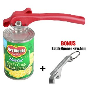 kichwit滑らかなエッジ手動Can Opener – - Free Bottle Opener Keychain Included レッド