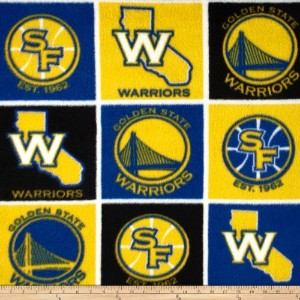 NBA Fleece San Francisco Golden State Warriors Block Blue/Yellow Fabric By The Yard by CAMELOT...