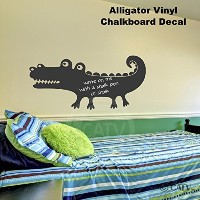 Chalkboard Alligator self adhesive vinyl wall decal sticker 20x28 by Wall Saying Vinyl Lettering