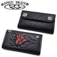 【Travis Walker トラヴィスワーカー】ウォレット/4W01-08:Large3-Fold-Sacred Heart Wallet-Black Leather-Red Frog Inlay...