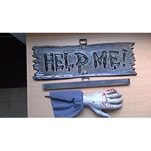 Zombie Arm And Help Lawn Stake Halloween Graveyard Decoration