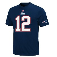 NFLメンズ新しいEngland Patriots Tom Brady the Eligible Receiver Athletic Navy半袖ベーシッククルーネックTシャツ( Athletic...