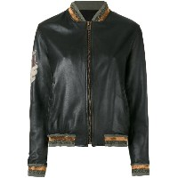 Mr & Mrs Italy - tattoo-style print leather bomber - women - カーフレザー/コットン/ポリエステル - XS