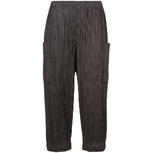 Pleats Please By Issey Miyake - high waisted cargo pants - women - ポリエステル - 5