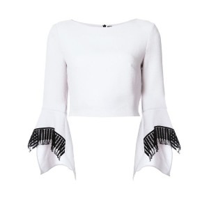 Roland Mouret - contrast cuffs cropped blouse - women - ウール - 12