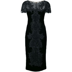 Marchesa - bead embroidery fitted dress - women - シルク/ビスコース - 10