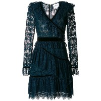 Perseverance London - velvet-trimmed tiered ruffled lace dress - women - ナイロン/ポリエステル - 8