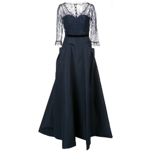 Carolina Herrera - lace panel flared gown - women - シルク/ナイロン - 6