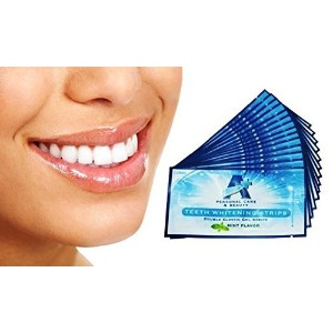 Sparkling White Professional Strength 6%HP Teeth Whitening Strips - Elastic Strips plus Advanced Whitening Formula = Great Results! 28 Strips (14 Upper and 14 Lower) Free Teeth Shade Guide Included. by Sparkling White Smiles