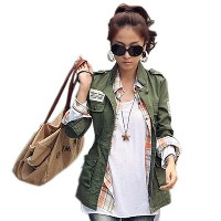 SM L 2017 Spring Autumn Women Embroidery Military Army Green Jacket Drawstring Patchwork Foldable Co