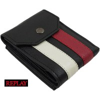 REPLAY/リプレイFM5115 STRIPED LEATHER WALLET(レザーウォレット) BLACK(ブラック)
