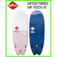 SOFTECH TORPEDO 5.4Ft CORAL/NAVY FCS3フィン付 ソフテック ソフトサーフボードTRI FIN