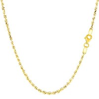 14k Yellow Gold Solid Diamond Cut Royal Rope Chain Necklace, 2.0mm, 18""