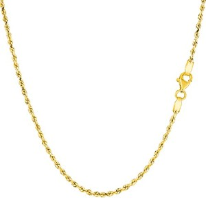 """14k Yellow Gold Solid Diamond Cut Royal Rope Chain Necklace, 1.5mm, 16"""""""