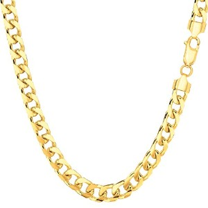 14k Yellow Gold Miami Cuban Link Chain Necklace - Width 5mm, 22""