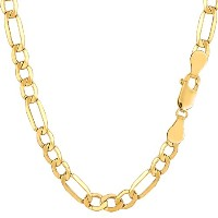 """10k Yellow Gold Hollow Figaro Chain Necklace, 5.4mm, 18"""""""