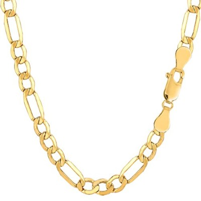 14k Yellow Gold Hollow Figaro Chain Necklace, 5.4mm, 18""