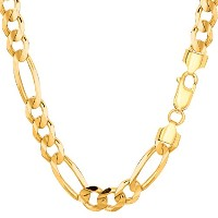 14k Yellow Gold Classic Figaro Chain Necklace, 7.0mm, 24""