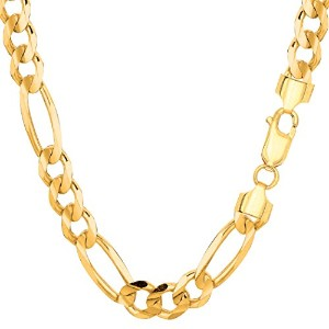 14k Yellow Gold Classic Figaro Chain Necklace, 7.0mm, 22""