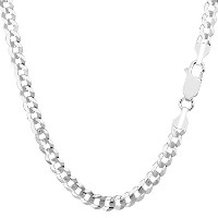 """14k White Gold Comfort Curb Chain Necklace, 4.7mm, 18"""""""