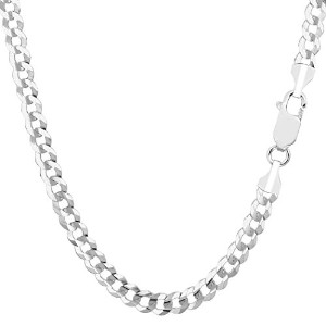 14k White Gold Comfort Curb Chain Necklace, 4.7mm, 30""