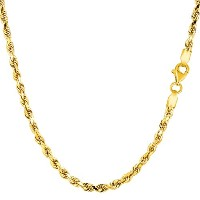 14k Yellow Gold Solid Diamond Cut Royal Rope Chain Necklace, 2.75mm, 18""