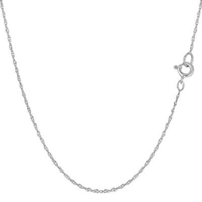 """14k White Gold Rope Chain Necklace, 0.7mm, 18"""""""