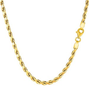 """14k Yellow Gold Solid Diamond Cut Royal Rope Chain Necklace, 3.5mm, 30"""""""