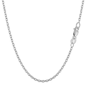 """14k White Gold Cable Link Chain Necklace, 1.9mm, 18"""""""