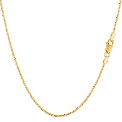 14k Yellow Gold Sparkle Chain Necklace, 0.9mm, 18""