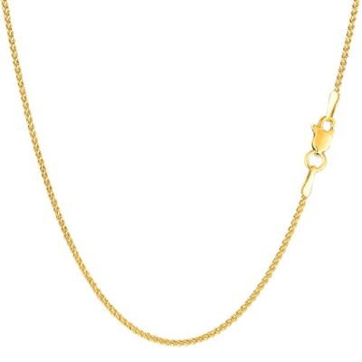 14k Yellow Gold Round Wheat Chain Necklace, 1.2mm, 18""