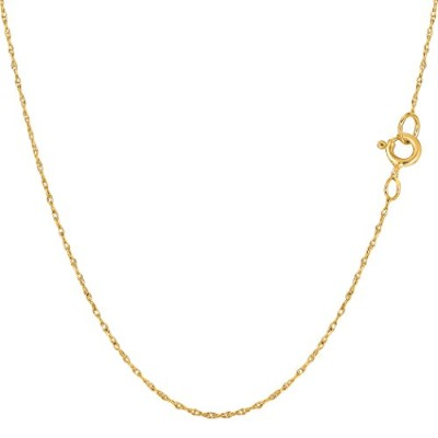 14k Yellow Gold Rope Chain Necklace, 0.5mm, 18""