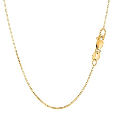 14k Yellow Gold Classic Mirror Box Chain Necklace, 0.7mm, 18""