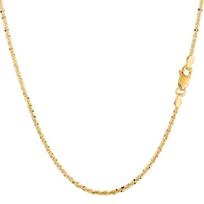 """14k Yellow Gold Sparkle Chain Necklace, 1.5mm, 18"""""""