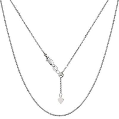 10k White Gold Adjustable Wheat Link Chain Necklace, 1.0mm, 22""