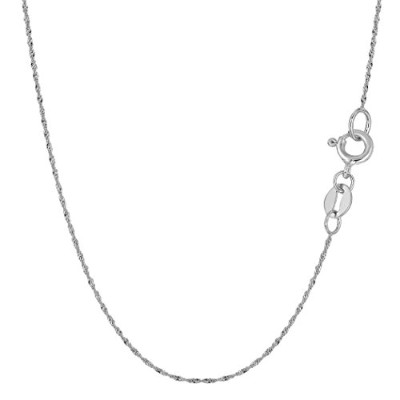 10k White Gold Singapore Chain Necklace, 0.8mm, 16""