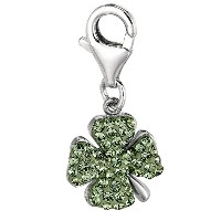 Sterling Silver Crystal Clip On Four leaf Irish Clover Charm