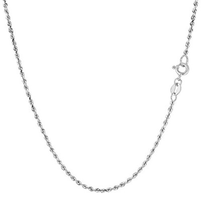 14k White Gold Solid Diamond Cut Royal Rope Chain Necklace, 1.25mm, 24""