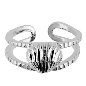 Sterling Silver Sea Shell Cuff Style Adjustable Toe Ring