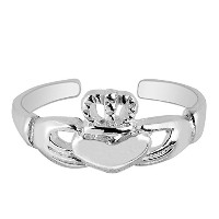 Sterling Silver Claddagh Cuff Style Adjustable Toe Ring