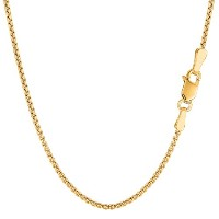 14k Yellow Gold Round Box Chain Necklace, 1.4mm, 18""