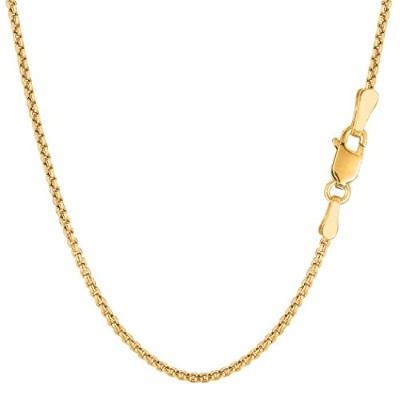 """14k Yellow Gold Round Box Chain Necklace, 1.4mm, 18"""""""