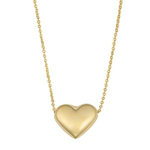 """10K Yellow Gold Puffed Heart Pendant On 18"""" Necklace"""