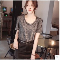 2017 spring and summer new Korean version of the round neck long section black loose bright wire