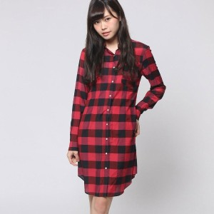 【SALE 70%OFF】アンタイトル UNTITLED outlet バッファローチェックシャツワンピース (ピンク)